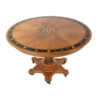 20th Century Gothic Revival Inlaid Stenciled Round Dining Table Preview