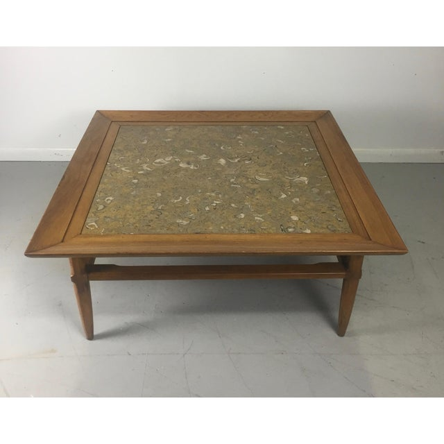 "Mid-Century Modern Tomlinson Marble and Pecan Mid-Century ""Sophisticate"" Coffee Table For Sale - Image 3 of 10"