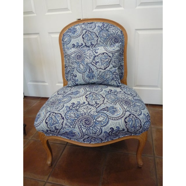 Navy Blue Vintage Blue Paisley French Provincial Armless Chair For Sale - Image 8 of 8