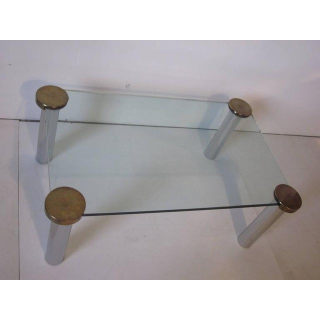 Mid-Century Modern 1970s Chrome Brass and Plate Glass Coffee Table For Sale - Image 3 of 5