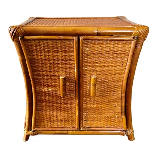 Mid Century Rattan Wicker Jewelry Box For Sale
