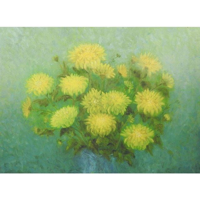 Yellow Mums Still Life Painting For Sale