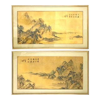 Chinese Mountain Landscape Paintings - a Pair