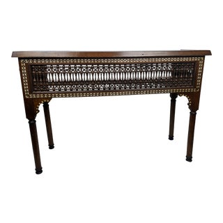 19th Century Syrian Walnut Inlaid Console Table or Sofa Table For Sale