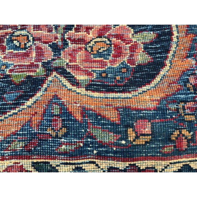 Palatial Antique Persian Carpet With Red Border, Blues, Reds, Creams, Kermin For Sale - Image 11 of 13