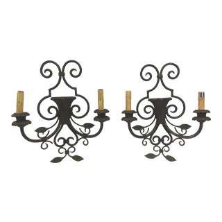 Wrought Iron & Copper Wall Sconces Mission Style - a Pair For Sale