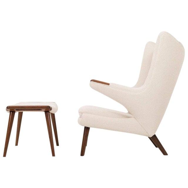 Hans J. Wegner Papa Bear Chair and Ottoman - Image 1 of 7