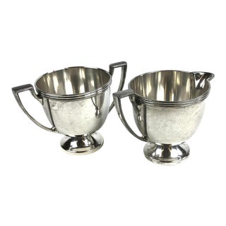 Oxford Silver Plated Sugar and Creamer - a Pair For Sale