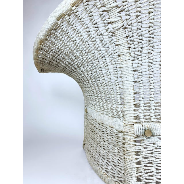 Vintage Rope Bird Lounge Coastal Chair Aft Bertoia For Sale In West Palm - Image 6 of 13