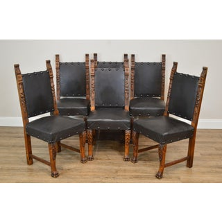 Italian Renaissance Style Antique Set 6 Carved Walnut Dining Chairs Preview