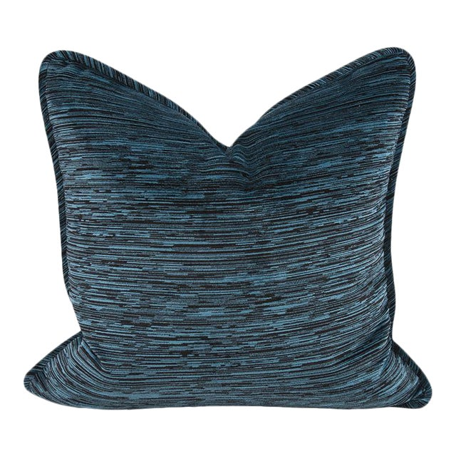 "Kenneth Ludwig Chicago Cascade Indigo 20"" Square Pillow For Sale"