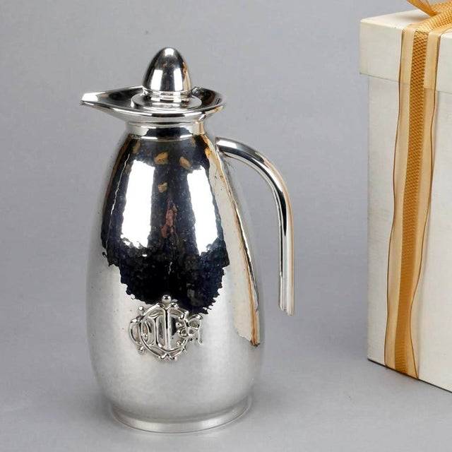 Christian Dior Hammered Silver Plate Beverage Pitcher with Original Box For Sale - Image 5 of 8