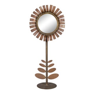 Mid Century Jere Style Flower Sculpture With Mirror For Sale