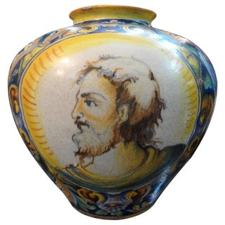 19th Century Italian Majolica Urn For Sale