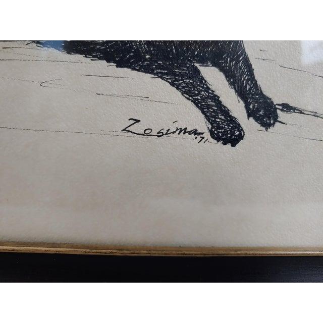 Illustration Late 20th Century Black Lab Vignettes Framed Dog Sketches Under Glass For Sale - Image 3 of 4