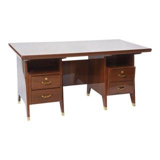 Italian Modern Walnut and Brass Executive Desk, Gio Ponti For Sale