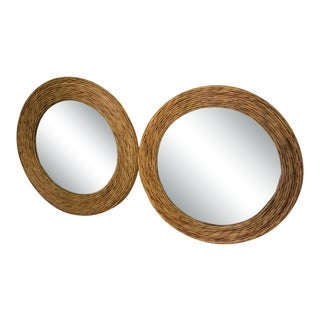 1970s Boho Chic Style Round Woven Rattan Vintage Mirrors - a Pair For Sale