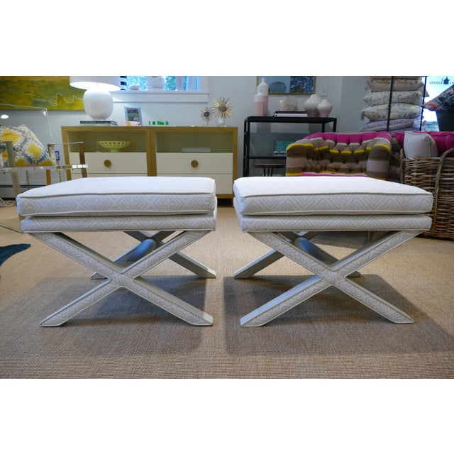 Modern Quadrille & Leather X-Benches- A Pair For Sale - Image 11 of 11