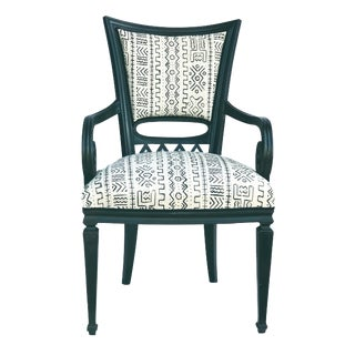 """Black Lacquer Wood French Chair W/ Mud Cloth 40.5"""" H by 23""""w For Sale"""