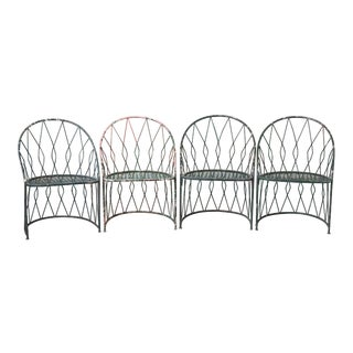 Set of Four Salterinini Round Wrought Iron Barrel Back Patio or Garden Chairs For Sale