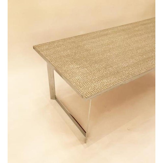 Mid-Century Modern Georges Jouve Style Large Scaled Mid Century Cocktail Table in Tile and Chromed Steel For Sale - Image 3 of 5