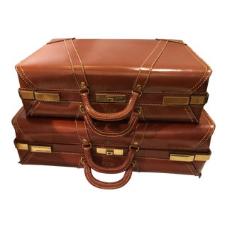 Leather Vintage Suitcases Luggage - a Pair For Sale