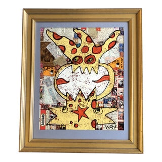 Original Contemporary Outsider Artist Wayne Cunningham Abstract Painting Collage For Sale