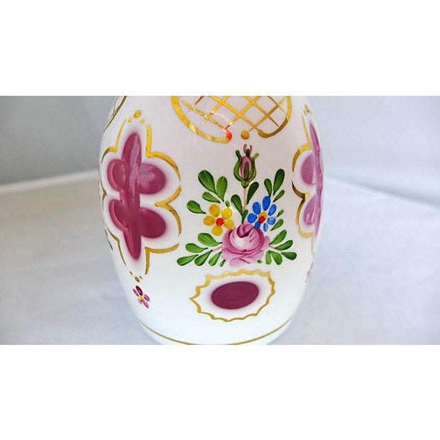 Traditional Vintage Hand Painted Floral Pink Decanter For Sale - Image 3 of 6