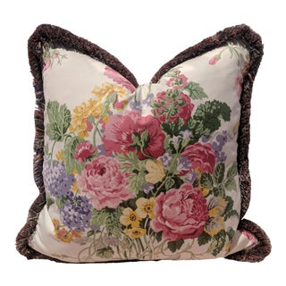 Custom Brunschwig Et Fils Chintz Floral Pillow With Brush Trim For Sale
