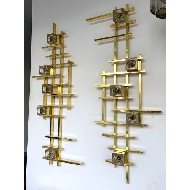 Large contemporary cubic brass and Murano glass wall lights sconces. Few exclusive artisanal production. In the style of...