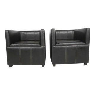 Pair of Mid-Century Modern Style Miniature Leather Club Chairs For Sale