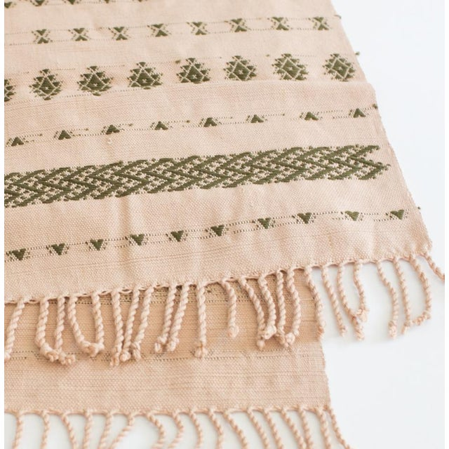 2020s Handwoven Guatemalan Dusty Rose and Olive Green Table Runner For Sale - Image 5 of 6