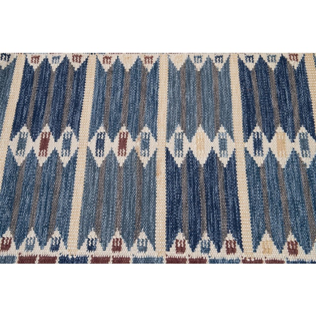 Blue 21st Century Modern Swedish Style Wool Runner Rug For Sale - Image 8 of 13