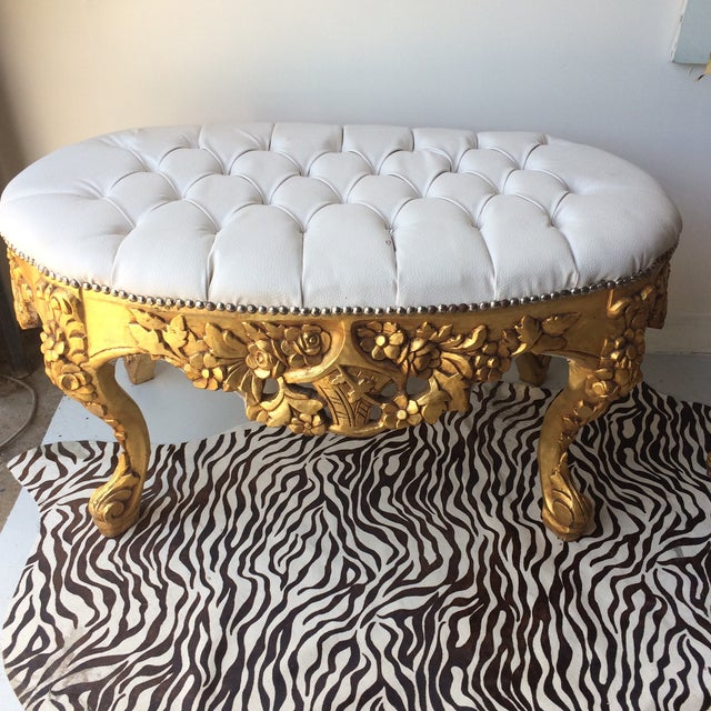 White Leather Tufted Ottoman With Floral Carvings - Image 2 of 7