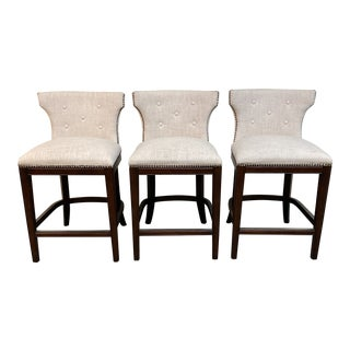 Fabric + Nailhead Counter Stools - Set of 3 For Sale