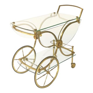 Brass and Glass French Drink Cart by Maison Charles For Sale