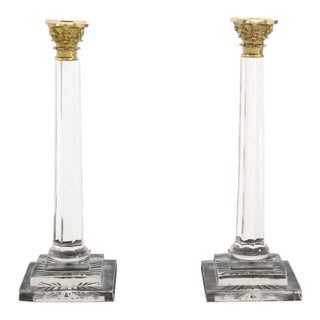 Pair of 20 inches Tall Glass and Brass Candle Sticks For Sale