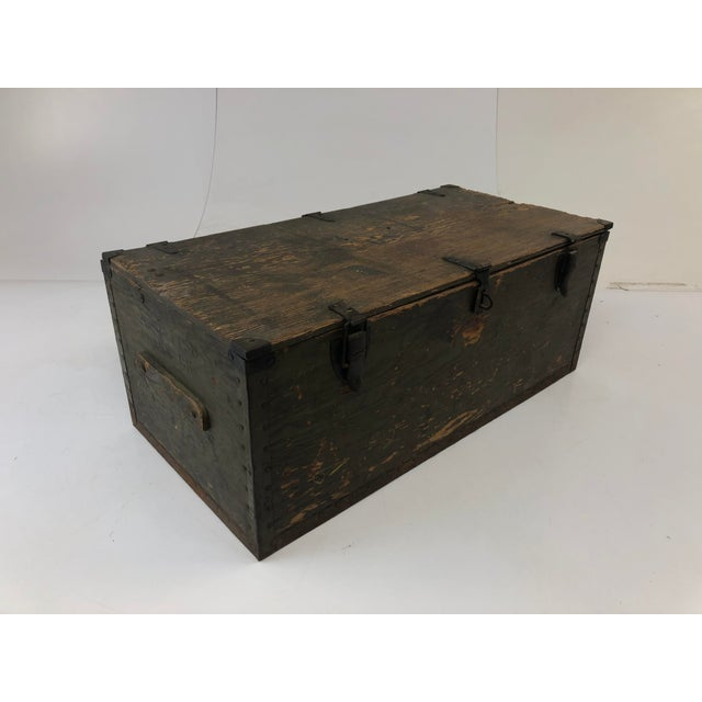 Vintage Military Green Wood Foot Locker Trunk For Sale - Image 6 of 12