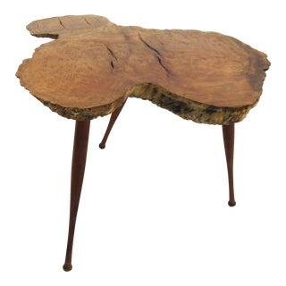1960s Organic Modern Walnut Side Table For Sale