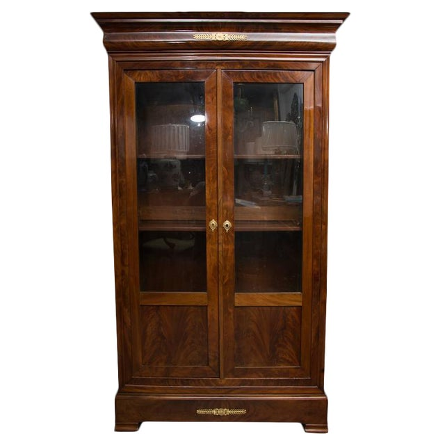 19th Century French Empire Mahogany Bookcase For Sale