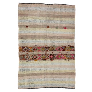Vintage Decorative Kilim Rug- 4′2″ × 6′3″ For Sale