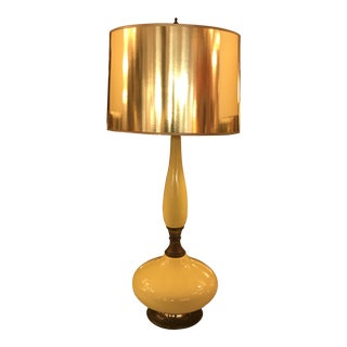 Mid-Century Yellow Glazed Ceramic Table Lamp, W/ Brass Fittings For Sale