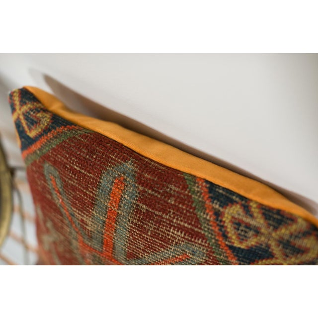 Antique Caucasian Rug Fragment Pillow For Sale - Image 5 of 5