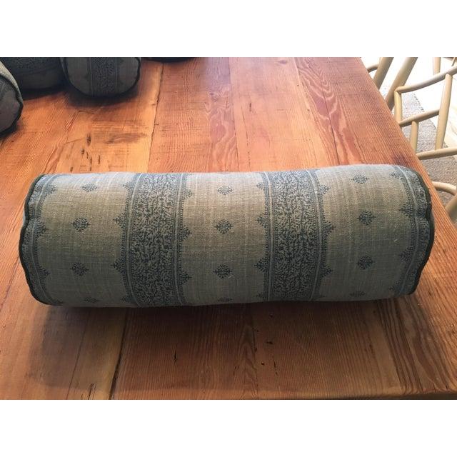 French Peter Dunham Fez Linen Bolster Pillows - Set of 4 For Sale - Image 3 of 4