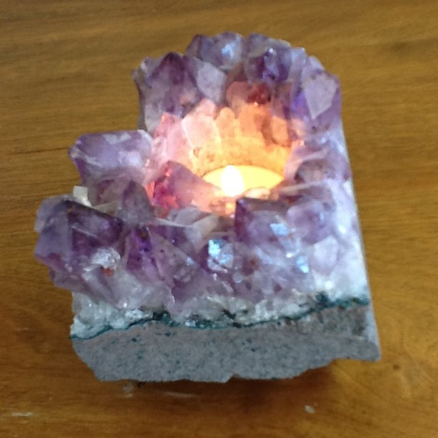 Raw Amethyst Rock Crystal Votive - Image 6 of 11