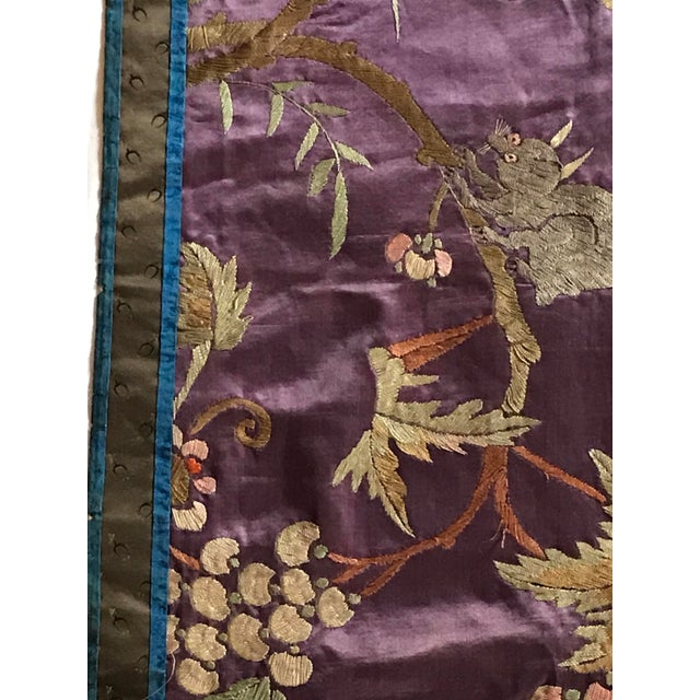 Chinese Embroidered Silk Textile-Runner For Sale - Image 9 of 12