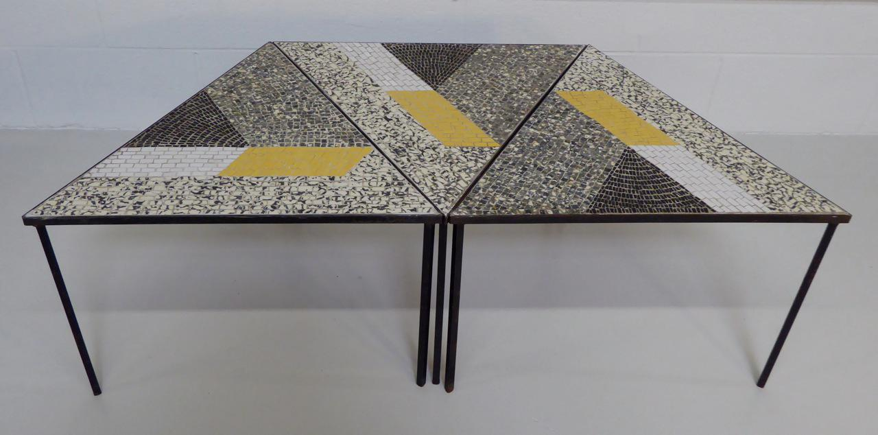 Exceptional Handcrafted Mid Century Modern Italian Mosaic Tile Occasional  Tables. Set Of Three Studio