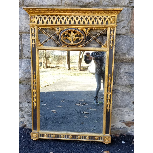 Italian Neoclassical Empire Style Giltwood Large Mirror For Sale - Image 11 of 11