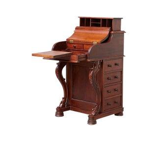 19th Century Victorian Antique Burr Walnut Piano Top Davenport Desk For Sale