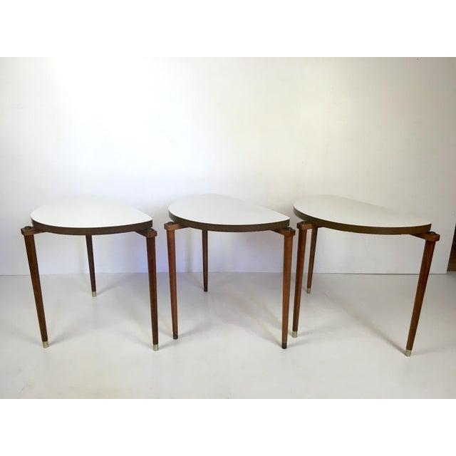 Mid-Century Modern Mid-Century Modern Nesting Tables Half Moon - S/3 For Sale - Image 3 of 8